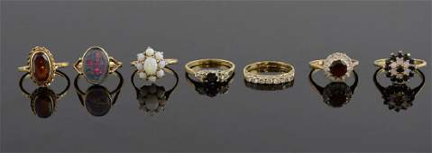 Group of gem set rings, sapphire and diamond, opal