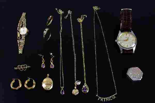 Collection of Jewellery including two gold lockets, two
