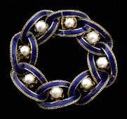Antique blue enamel and pearl gold link bracelet, set