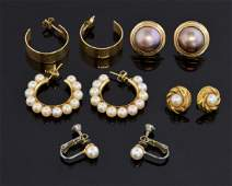 Collection of gold and pearl earrings including a pair