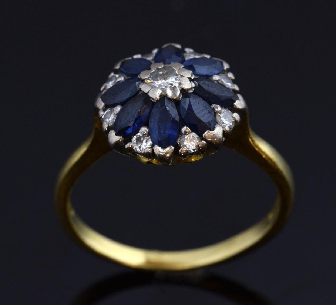 Edwardian style sapphire and diamond ring, in white and