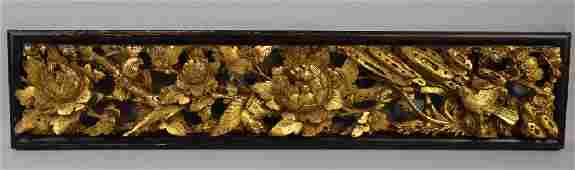 Chinese 19th century carved gilt wood pa