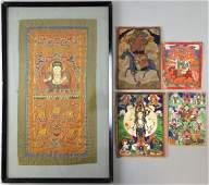 Four small Tibetan Thangkas and a Buddhi