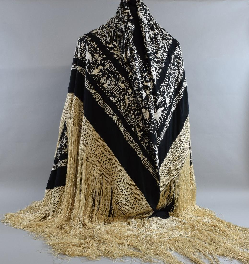 Chinese Canton black silk shawl  with ex