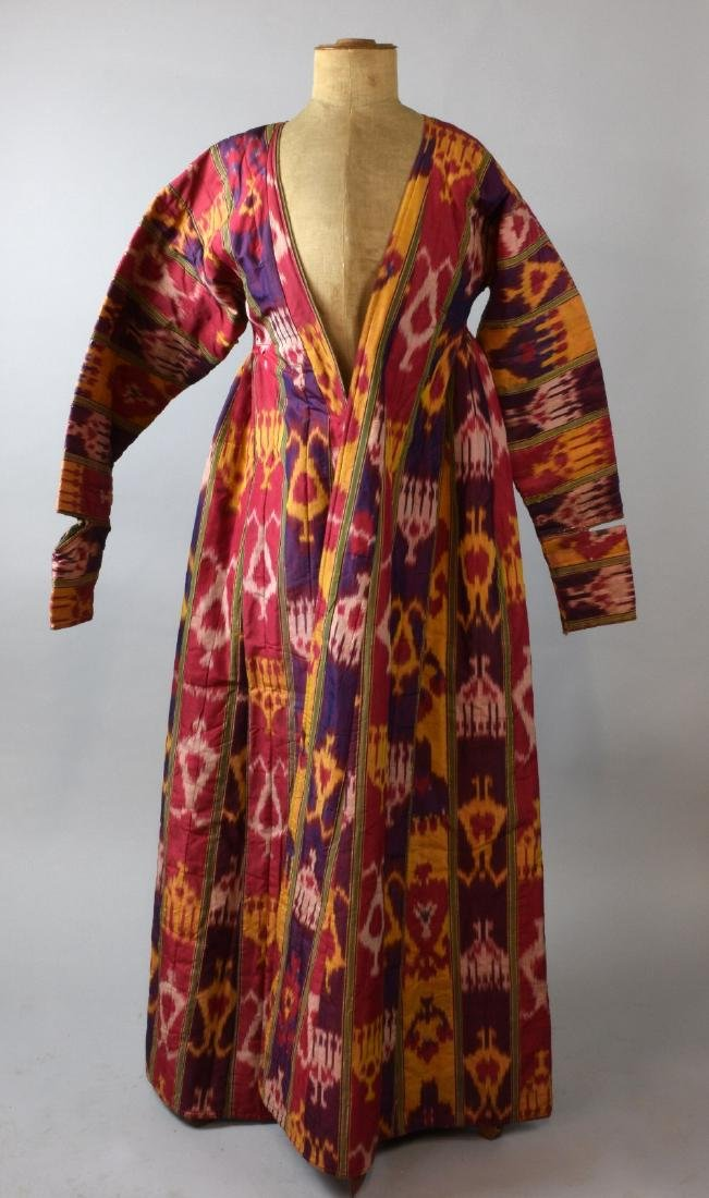 Antique silk chapan coat, with ikat pat