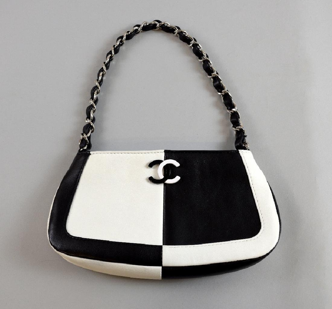 Chanel black and white bag, with logo an