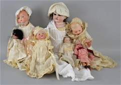 Seven Early 20th bisque head dolls to in