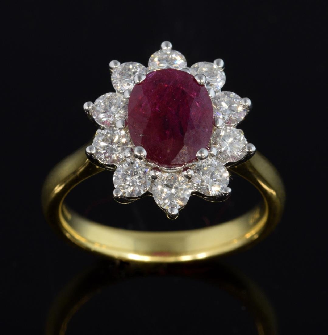 Burma ruby and diamond cluster ring, oval cut ruby