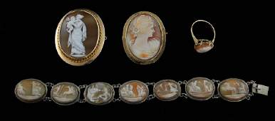 Group of cameo jewellery  carved cameo brooch  de