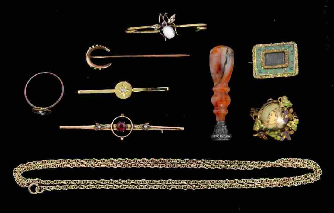 Group of antique jewellery to include an opal set