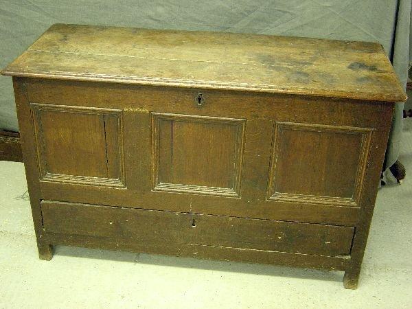 12: 18th century oak mule chest