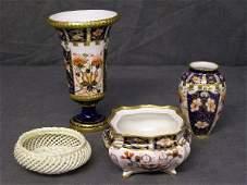 405: Royal Crown Derby Imari pattern vase etc (4)