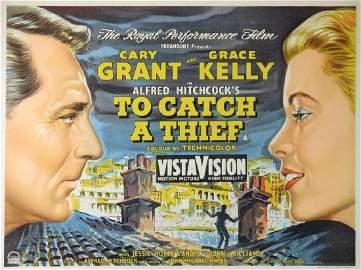 To Catch A Thief (1955) British quad film poster,