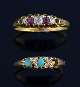 Two antique gem set rings, in 18 ct gold, ruby, ri