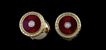Faberge red enamel and diamond earrings set in 18