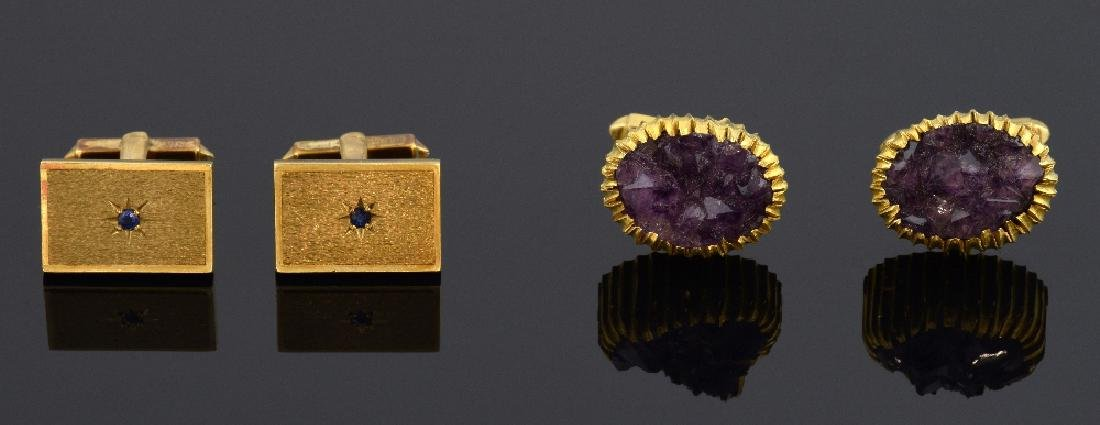 Two pairs of vintage gold cufflinks, one set with