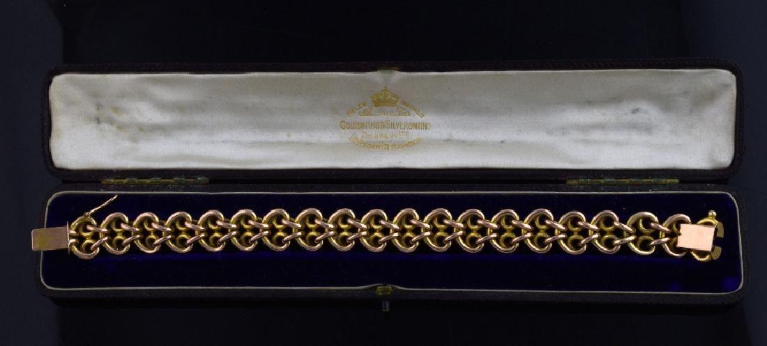 Victorian fancy link bracelet, unmarked gold , tes