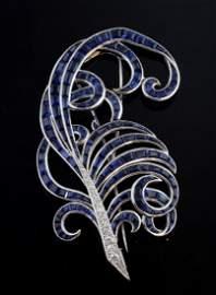 Fine Art Deco sapphire and diamond feather brooch,