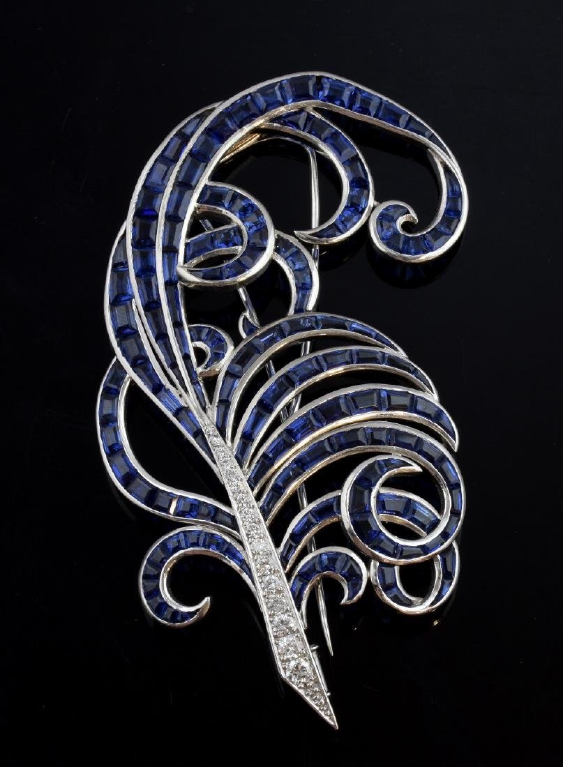 Fine Art Deco sapphire and diamond feather brooch,