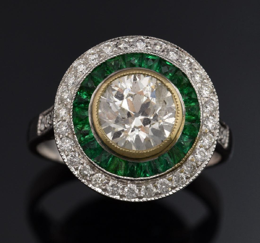 Emerald and diamond target ring, set with round br