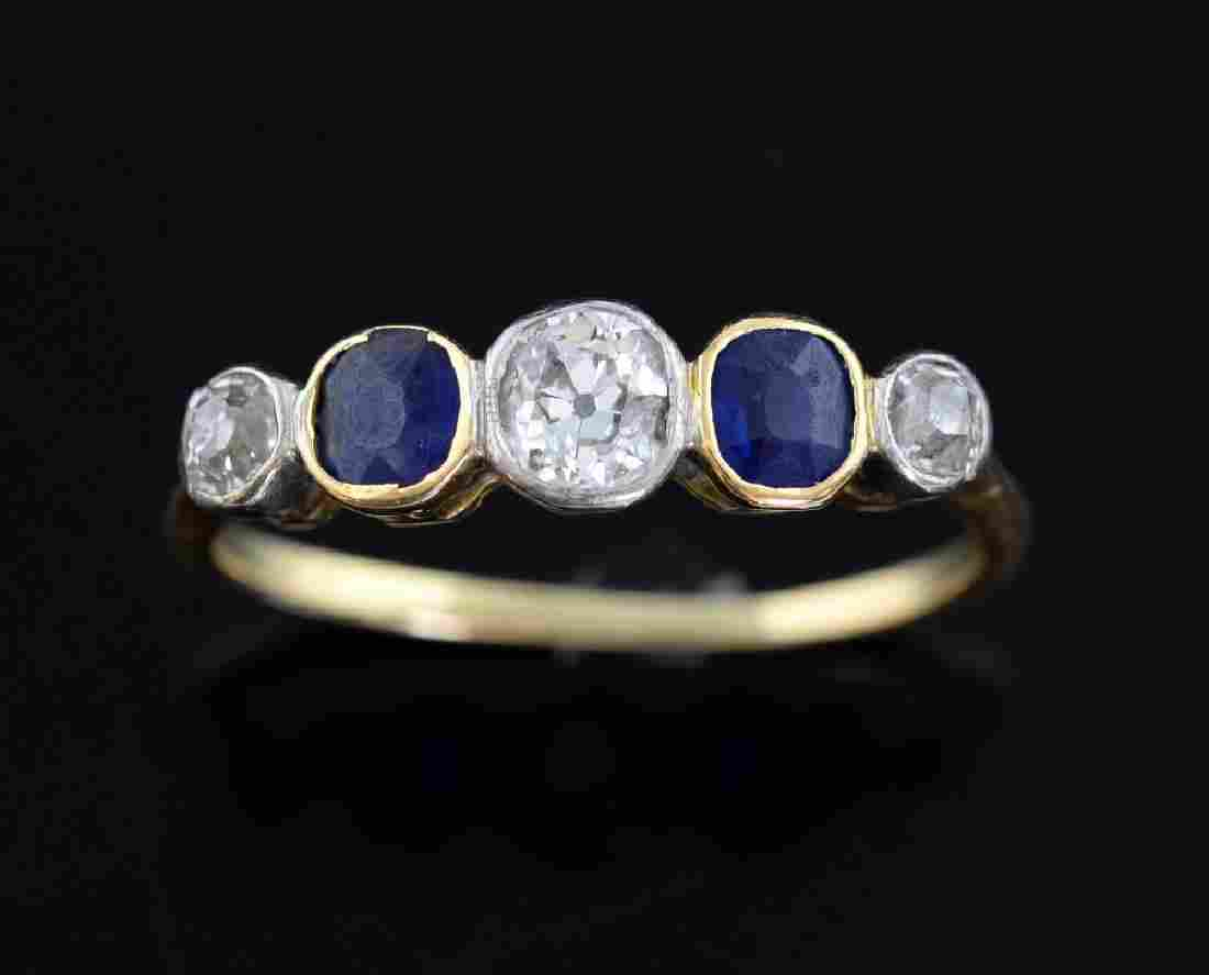 Edwardian diamond and sapphire ring, set with cent