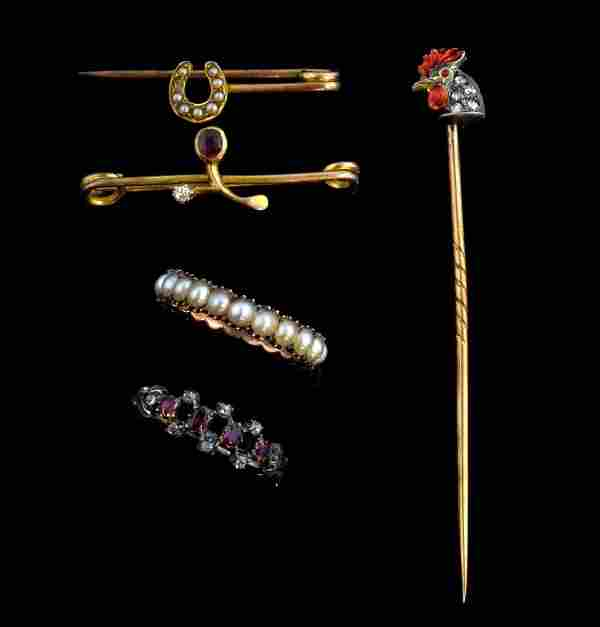 Group of antique jewellery, rose cut diamond and r