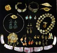 Group of silver and costume jewellery, including a