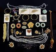 A large collection of vintage costume jewellery in