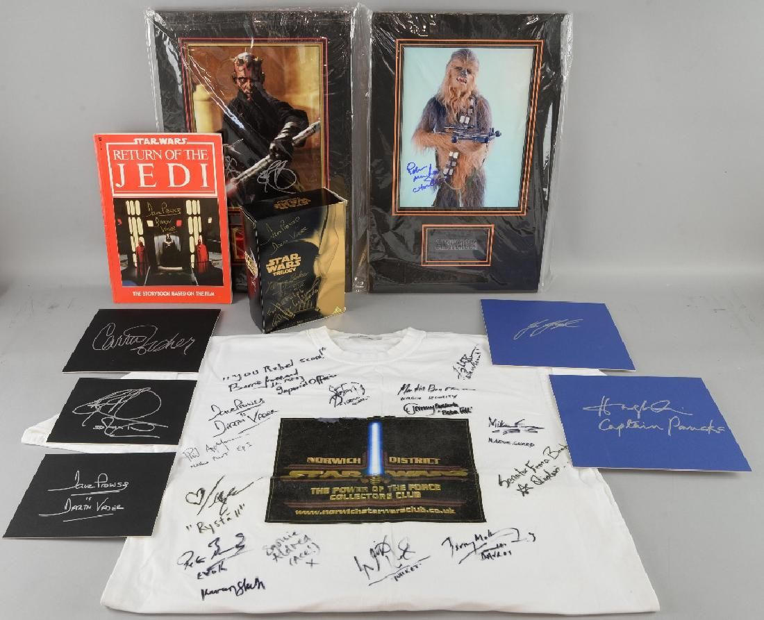 Star Wars - Signed items including a large black c