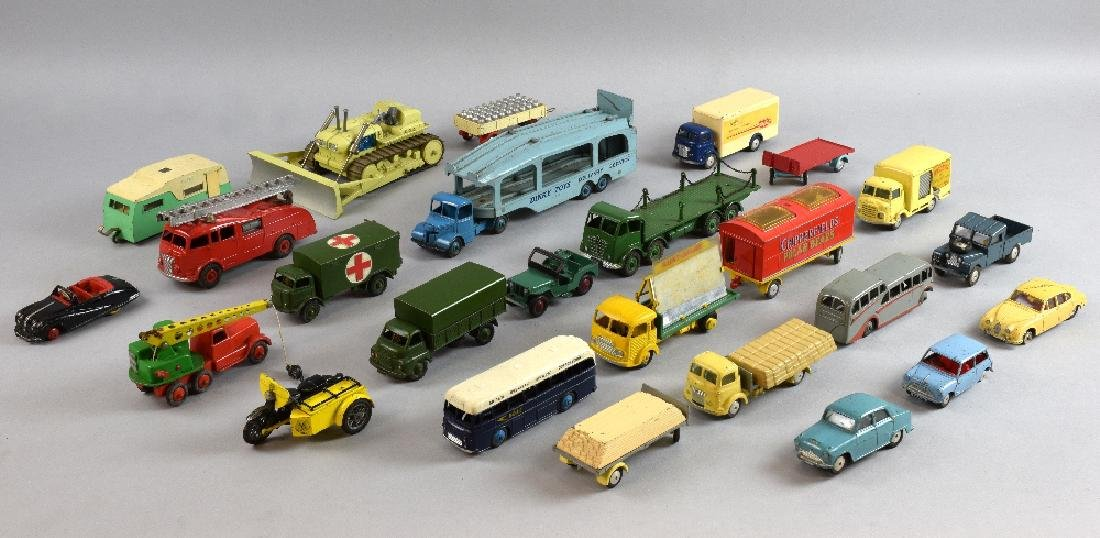 A collection die-cast vehicles including Dinky Toys