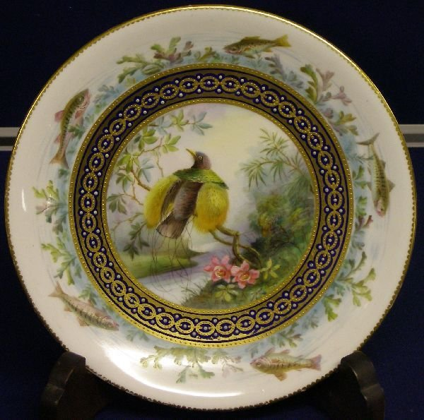 7: 19th century Derby cabinet plate, the outer