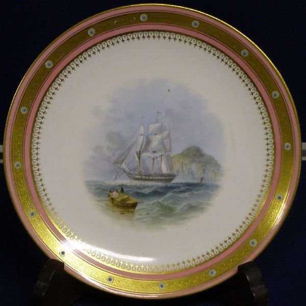 8: 19th century Minton cabinet plate with gilt