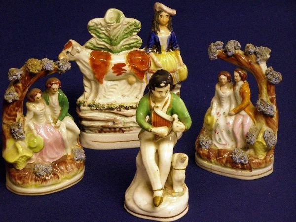 15: Pair of 19th century Staffordshire figural