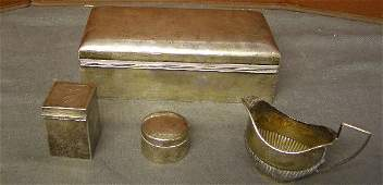 757: Edward VII silver cigarette box etc