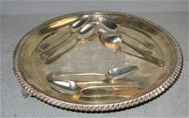 767 George III silver waiter and six spoons