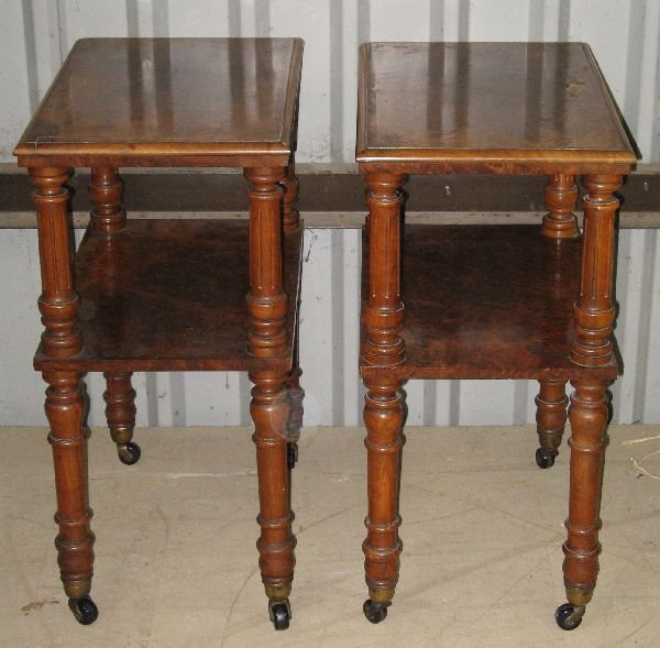 1250: Pair of 19th century walnut two tier tables