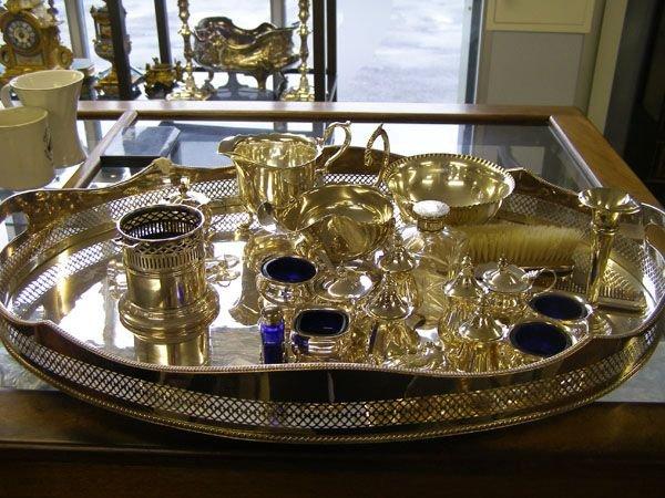 686: Plated tray, cruets etc