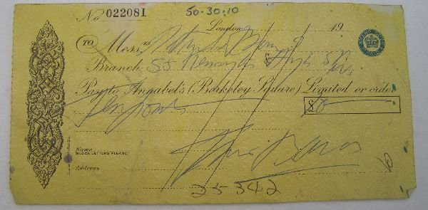 2009: Francis Bacon signed cheque No. 022081. A cheque