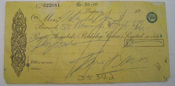 2009: Francis Bacon signed cheque No. 022081. A cheque