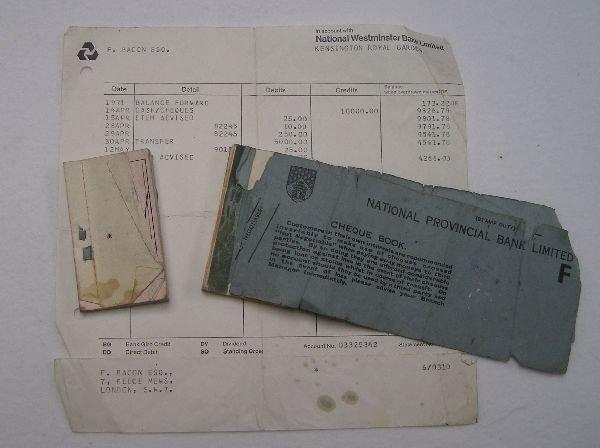 2009: Francis Bacon signed cheque No. 022081. A cheque  - 2