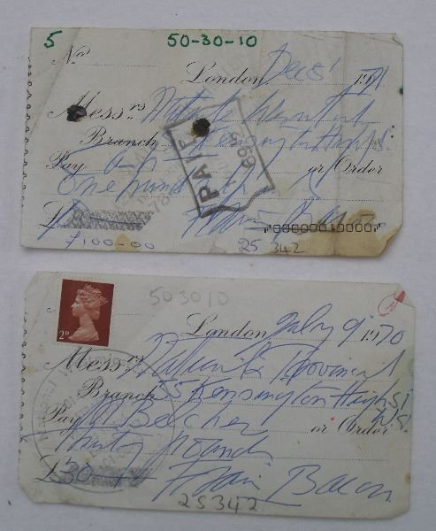 2010: Francis Bacon two signed hand-written cheques one