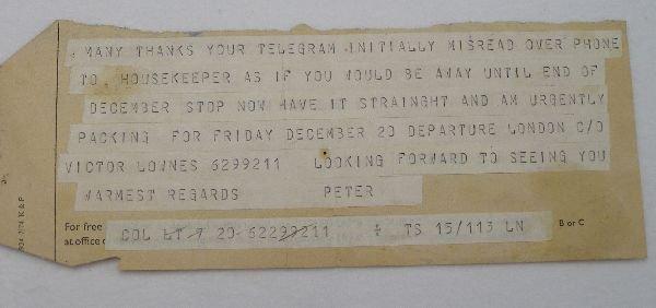 2011: To Francis Bacon telegram attrib. Peter Lacy