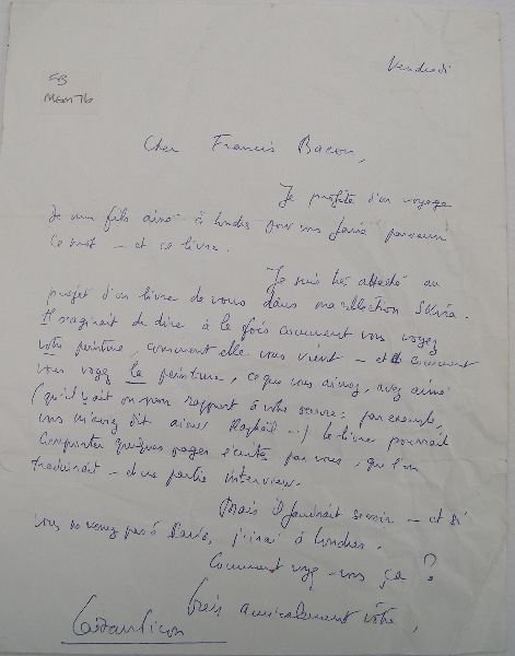 2021: To Francis Bacon letter from Gaetan Picon