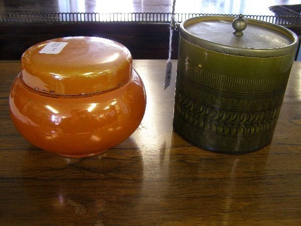 14: Linthorpe pottery biscuit barrel and a