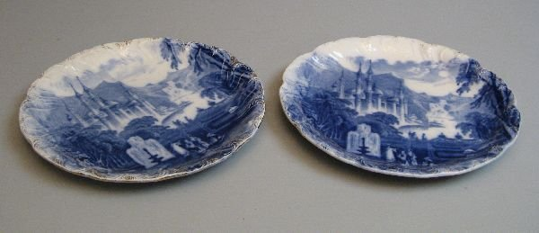 66: Pair of 19th Century blue and white plates
