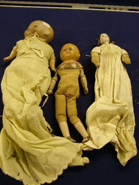 892: German bisque headed doll & 3 others