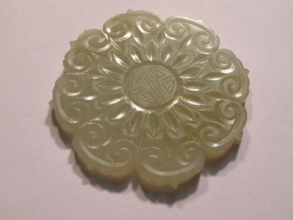 967: Chinese jade flowerhead plaque, Qing dynasty