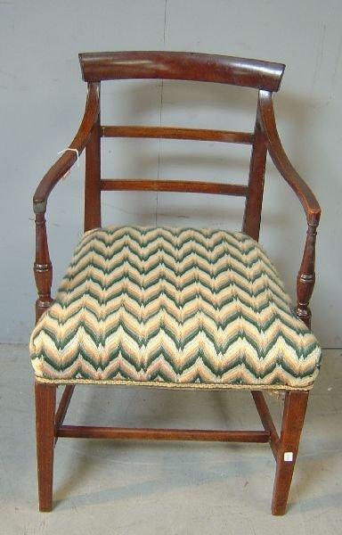 6: George III mahogany bar-back open armchair