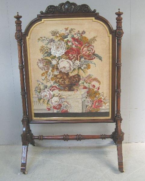 16: Ornate Victorian mahogany-framed firescreen