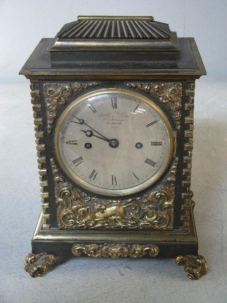 304: 19th century bronze and gilt bracket clock
